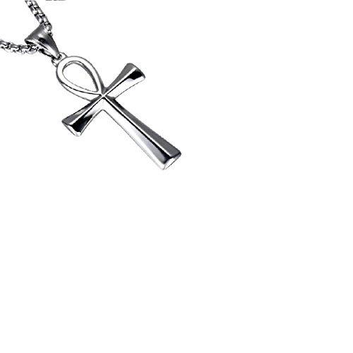 PicZhiwenture Halskette Anhänger Schlüsselbeinkette Kette Europäische und amerikanische Edelstahl ägyptische Symbol des Lebens Halskette Anhänger Kreuz Schmuck Religion-Silber Trompete