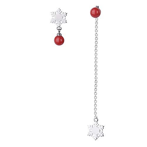 LAMEIDA Orecchini Asimmetrici Eleganti Perline Rosse Fiocco di Neve Orecchini Lunghi Regalo di Compleanno per Le Ragazze delle Ragazze Regalo