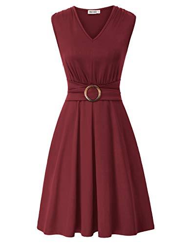 GRACE KARIN Vestido de cóctel Rockabilly Rojo Plisado Retro Vintage Vino años 50 con Escote corazón L CLS02215-4