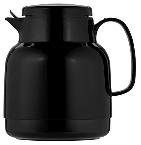 Helios Mondo Kunststoff-Isolierkanne mit Teesieb, schwarz, 14.2 x 13.6 x 19.3 cm