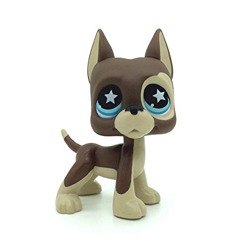 jjlin Mini Pet Shop Great Dane Dog Puppy Brown Chocolate Star Blue Eyes LPS #817