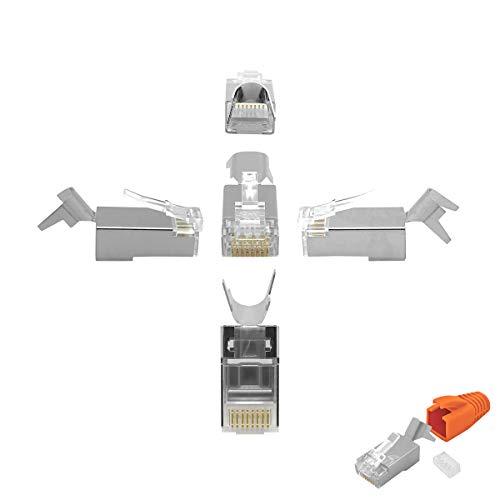 ARLI CAT 7 Verlegekabel 50m Netzwerkkabel CAT.7 Werkzeug Set + Crimpzange RJ45 Zange + Kabelmesser + Tester + LSA + 10 Netzwerkstecker Netzwerk Stecker Halogenfrei CAT7 Kabel Netzwerk 50 m