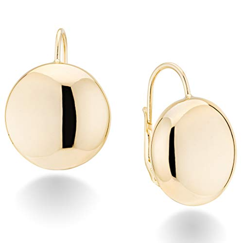 MiaBella 18K Gold Over Sterling Silver Italian High Polished Round Dome Button Bead Ball Statement Leverback Earrings for Women 12mm, 18mm 925 Made in Italy (1/2 Inch (12mm))