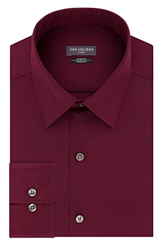 Van Heusen mens Slim Fit Flex Collar Stretch Solid Dress Shirt, Mulberry, 16.5 Neck 34 -35 Sleeve Large US