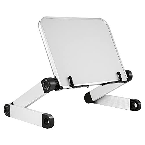 Lubanheart ブックスタンド ブックホルダー 折り畳み式 高さと角度調整可能 人間工学 姿勢改善 タブレット・ノートパソコン兼用 アルミ製 譜面台 読書台 書見台 本立て 収納簡単 iPad台 卓上 ベッド ソファ 多用途 使いやすい