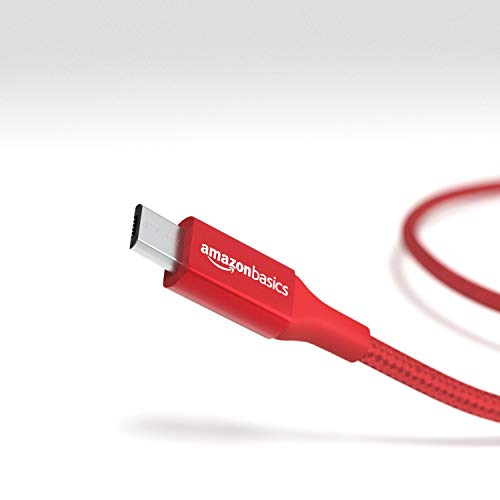Amazon Basics - Verbindungskabel, USB Typ C auf Micro-USB Typ B, USB-2.0-Standard, doppelt geflochtenes Nylon, 0,3 m, Rot