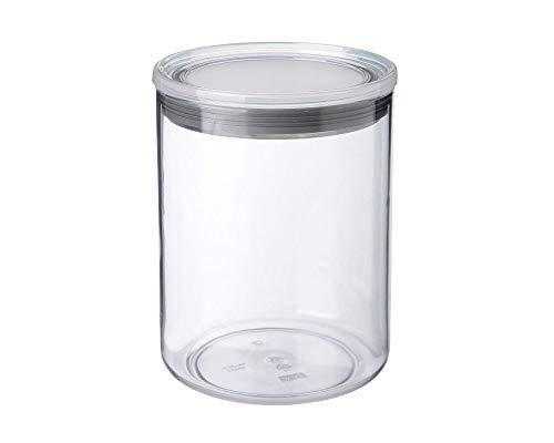 Tatay Bote de Cocina, 1.5L de Capacidad, Hermético, Libre de BPA, Apto Lavavajillas, Transparente - Gris. Medidas 12.5 x 12.5 x 17 cm