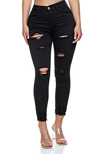 Elara Damen Jeans High Waist Destroyed Chunkyrayan YG 515 Black-42 (XL)