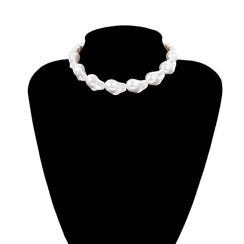YOUQU Necklaces For Women,Splicing Pearl Beaded Chain Choker,Dainty Handmade Unique Personalise Jewelry,Mother'S Day Festival Couple Lover Gift,White,One Size