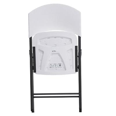 4-Pack Lifetime 42810 White Granite with Gray Steel Frame Light Commercial Folding Chair
