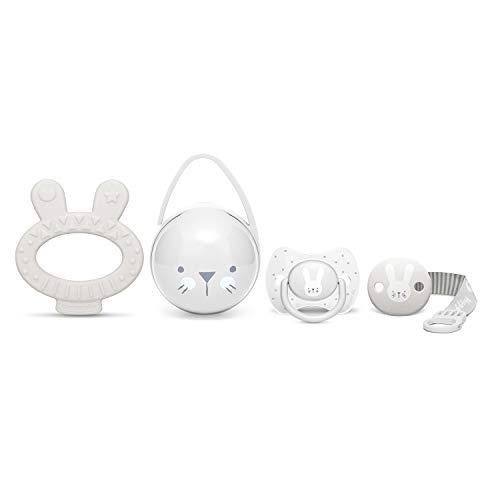 Suavinex Set Premium Recién Nacido con Chupete fisiológico silicona 0-6 meses, Broche, Portachupetes y Mordedor, gris