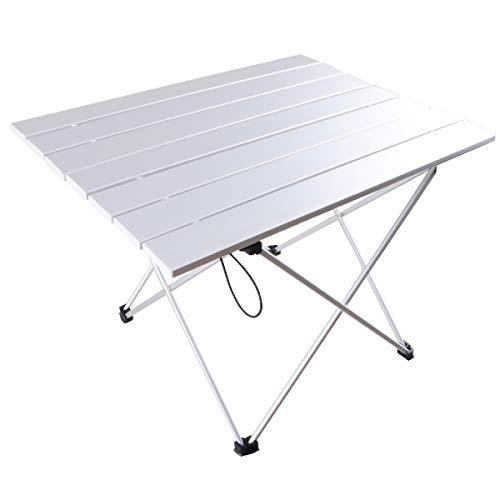 TRIWONDER Tavolino Pieghevole da Campeggio Barca Picnic BBQ, Tavolo Arrotolabile da Campeggio in Alluminio per Mercato Nautico Spiaggia Pesca (Argento - L (21,93