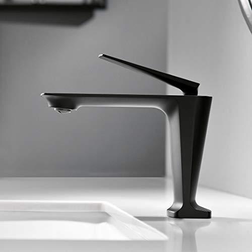 AIMADI Design Wasserhahn Bad Mischbatterie Badarmatur Waschbecken Waschtisch Armatur Einhebelmischer Waschtischarmatur Badezimmer Schwarz
