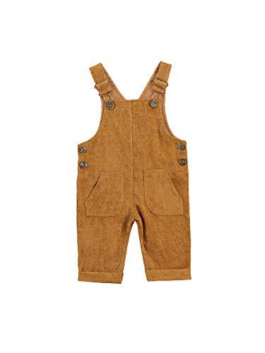 Carolilly Baby Jungen Latzhose Kord Overall Einfarbig Jumpsuit Strampler Retro Hose mit Hosenträger Trägerhose mit Knöpfen (Gelb, 18-24 Monate)
