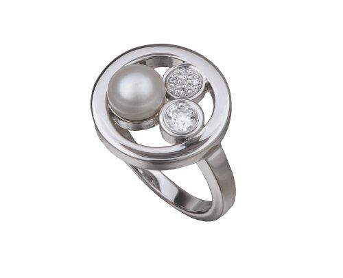 Alvina ZR-3641 - Anillo de mujer de plata de ley con circonitas y perla natural (1 perla)
