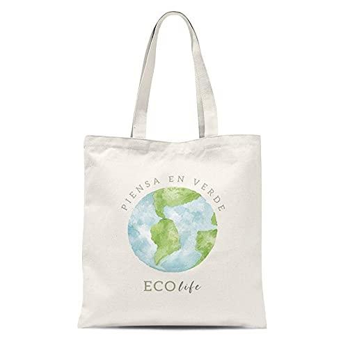 EVOLUX Bolsa de tela 100% algodón cabado cosido, reutilizable, lavable, color natural con asas para llevar 24 cm 36x40 cm, uso diario con dibujo eco life proteccion ambiente