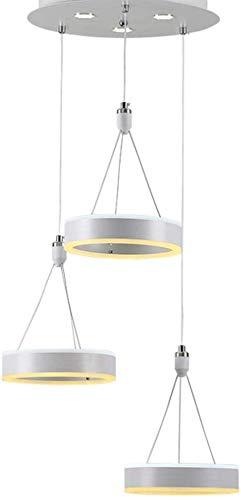 Moderne led-hanglamp, metalen ring hanglamp voor eettafel, grijze drie-licht-hanglamp voor eetkamer en woonkamer