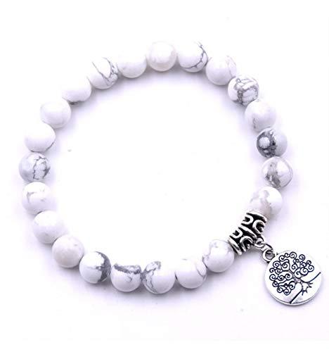Coco Papaya armband spiritueel howliet wit en symbool levensboom