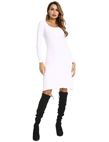 Abollria Damen Strickkleid Elegant Knielang Kleid Feinstrick Stretch Pullover Rundhals Sexy Figurbetone Herbstkleid,Weiß,M