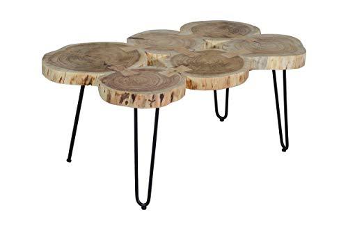 SAM Beistelltisch Logi, Couchtisch aus 6 Baumscheiben, Akazienholz massiv, naturfarben, Sofatisch mit Metall-Gestell schwarz, 104 x 65 x 45 cm