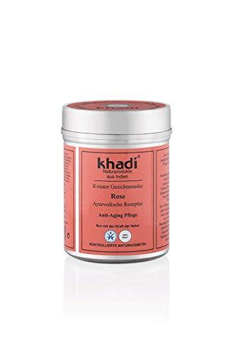 khadi Gesichtsmaske Rose 50g I Natürliche Gesichtspflege für trockene, gereizte und reife Haut I Ayurvedische Hautpflege nach indischer Tradition I Naturkosmetik 100% pflanzlich
