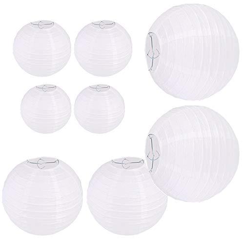Limeow papieren lantaarn wit papier lantaarn lampions rond papieren lantaarn papieren lamp lantaarn lampions wit papieren lantaarn wit rond lampenkap bruiloft geleverd (geen lichtbron)