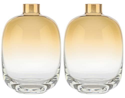 Jarrón de cristal – Juego de 2 pequeños jarrones decorativos redondos para flores – Jarrón para decoración del hogar – Centro de mesa – 15 cm de alto – Sala de estar,...
