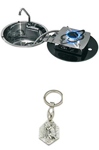 Zisa-Kombi Klappbare Kocher-Spülen-Kombination, Kocher 30mbar 1-flammig (93298870504) mit Anhänger Hlg. Christophorus