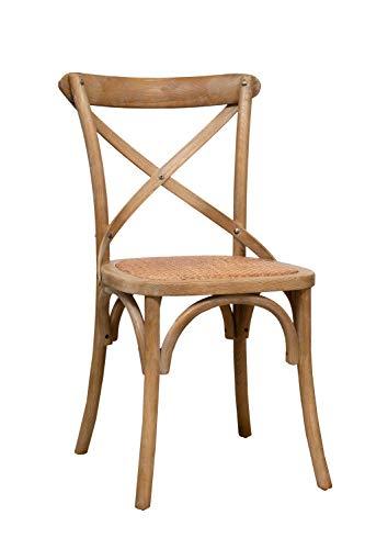 Thonet Stuhl in massiver Esche und Rattansitz im Alter von Holzende 46x42x86 cm