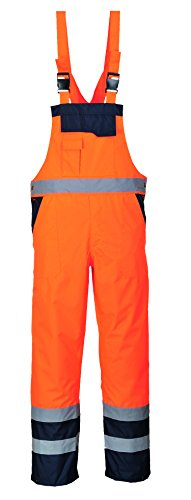 Portwest S488ONRM Contrast Bib and Brace, Unlined, Regular, Size Medium, Orange/Navy