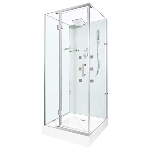 Douchetempel kant-en-klare douchecabine echt glas hoekig compleet douchekop 90x90 hoekig