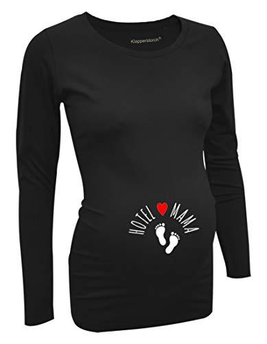 LOVE RULES Damen Umstandsmode Tshirt mit witzigem Motiv Hotel Mama - lustige Schwangerschaftsmode Stretch Shirt wächst während der Schwangerschaft mit dem Bauch schwarz XXL-42