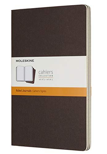 Moleskine Cahier notitieboekje (kartonnen omslag) set van 3 gelinieerd Large/A5 koffiebruin