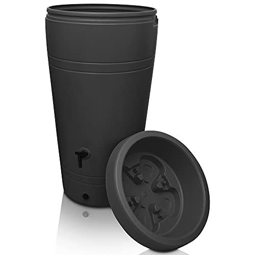 YourCasa Regentonne 230 Liter [Decore Design] Regenfass Frostsicher aus Kunststoff - Regenwassertonne mit Wasserhahn - Regenwassertank Garten (Anthrazit)