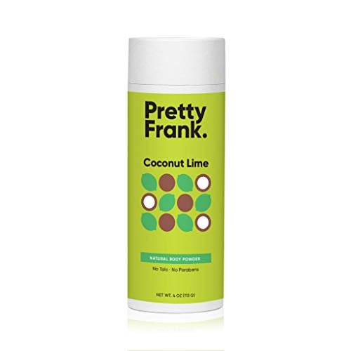 Pretty Frank Body Powder - Talc Free Body Powder for Women and Men to Help Combat Wetness with Non-Aluminum Baking Soda, Kaolin Clay Powder, Cocoa Butter and Essential Oils - Coconut Lime (4 oz)