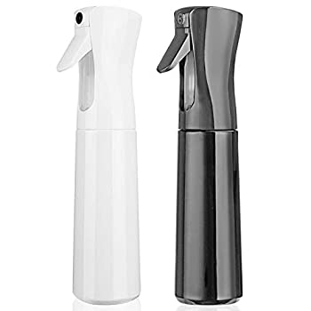 Hair Spray Bottle Empty Plastic Trigger Spray Bottle Refillable Fine Mist Sprayer Bottle 2 Pack 10oz /300ml for Hair Styling Cleaning Garden Continuous Water Mister  1Black+White