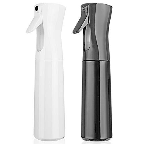 Hair Spray Bottle Empty Plastic Trigger Spray Bottle Refillable Fine Mist Sprayer Bottle 2 Pack 10oz /300ml for Hair Styling, Cleaning, Garden Continuous Water Mister (Black+White)