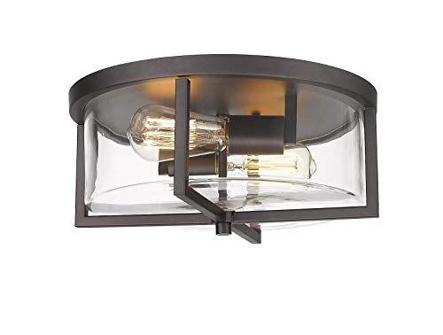 Odeums Indoor Flush Mount Ceiling Lights, ,Interior Close to Ceiling Light Fixture, Oil Rubbed Bronze Finish with Clear Glass