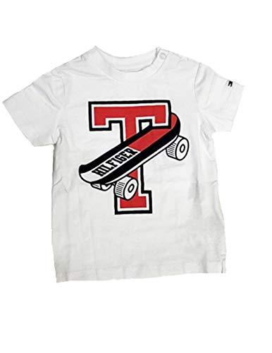 Tommy Hilfiger Baby Skateboard tee S/S Camisa, Blanco, 62 cm para Bebés