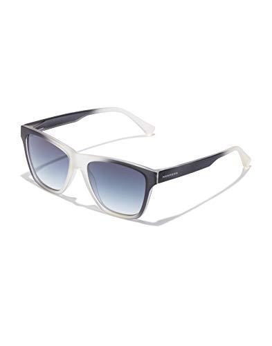HAWKERS Gafas de Sol LS Twilight, para Hombre y Mujer, con Montura translúcida Bicolor Lentes degradadas Oscuro, Protección UV400, Negro Blanco/Azul, One Size Unisex-Adult