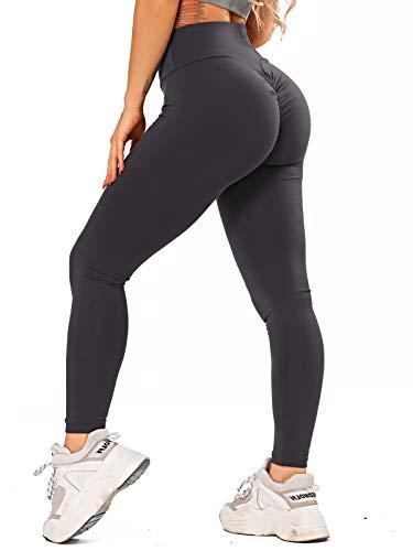 Leggings para mujer Scrunch Butt Po Lifting Push Up, pantalones de deporte, anticelulitis, cintura alta, pantalones de jogging para fitness, entrenamiento, gimnasio gris oscuro M