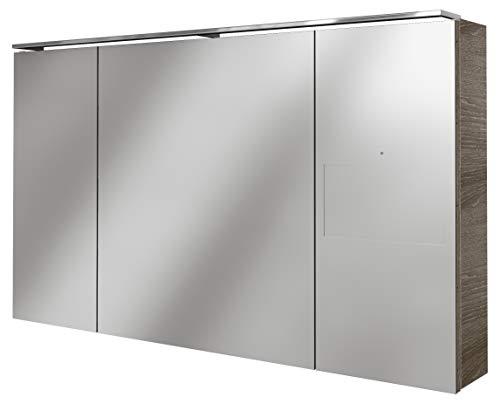 Lanzet SmarT Multimedia Spiegelschrank/Schrank mit Internetanbindung + Touchscreen/Maße (B x H x T): ca. 120 x 68 x 18 cm/LED Spiegelschrank mit 3 Türen/Screen rechts/Korpus: Braun dunkel