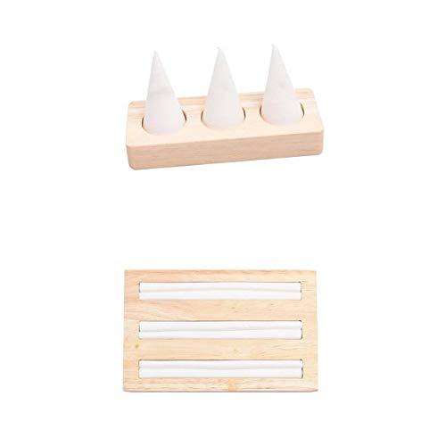 Fenteer - Bandeja de Exhibición con Soporte para 2 Dedos, Color Blanco