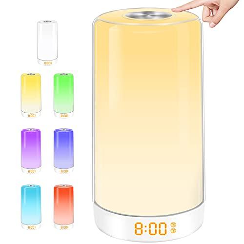 Lichtwecker - Wake Up Licht mit Sonnenaufgang Simulation, Led Nachttischlampe mit zwei Alarmen, Mehrfarbig Tageslichtwecker für Erwachsene & Kinder
