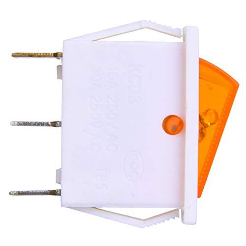 Interruptor basculante a presión, Interruptor de Barco de 3 Pines, 10 Piezas, Interruptor basculante AC 250 V / 15 A 125 V / 20 A, Interruptor basculante de Encendido/Apagado, para