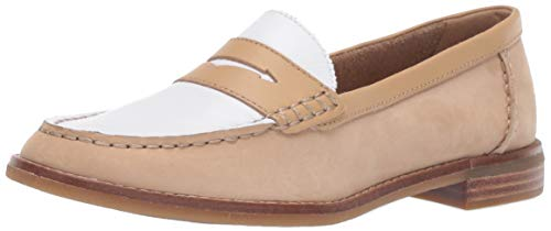 Sperry Women's Seaport Penny Tri Tone Loafer, Tan/White, 5