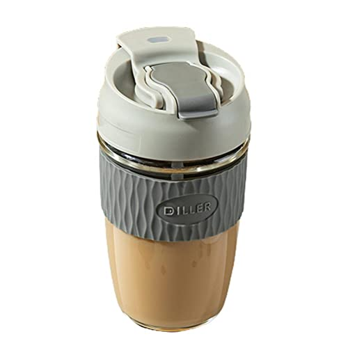 Yusat Taza de café de cristal con tapa y pajita resistente al calor botella de agua para uso en casa oficina