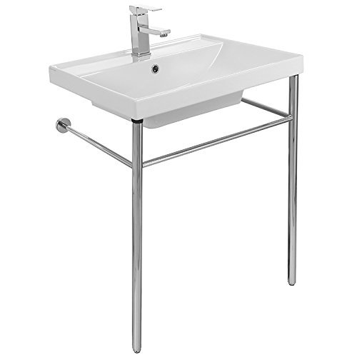 Scarabeo 3004-CON-One Hole ML Rectangular Ceramic Console Sink and Polished Chrome Stand, White