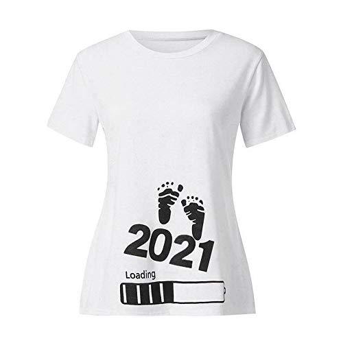 AGAGRG Baby Loading 2021 Bedrucktes schwangeres T-Shirt Mutterschafts-Kurzarm-T-Shirt,Black,L