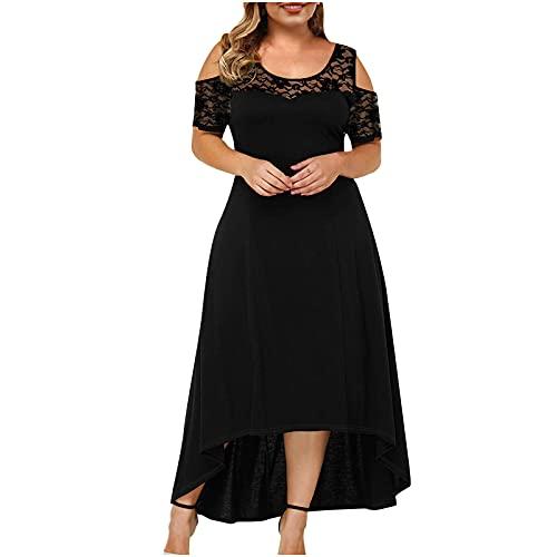 Summer Plus Size Maxi Dresses for Wedding Guest, Women Black Sexy Lace Cold Shoulder Short Sleeve Crewneck Long Dress